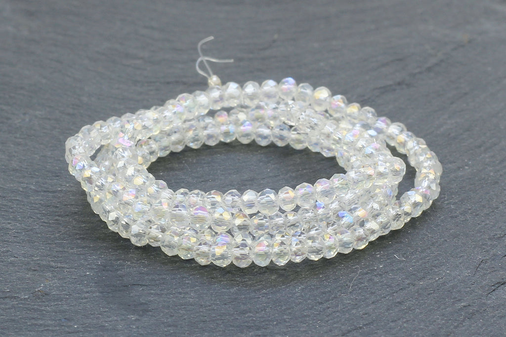 2x3mm Clear Crystal Glass Faceted Bead Strand