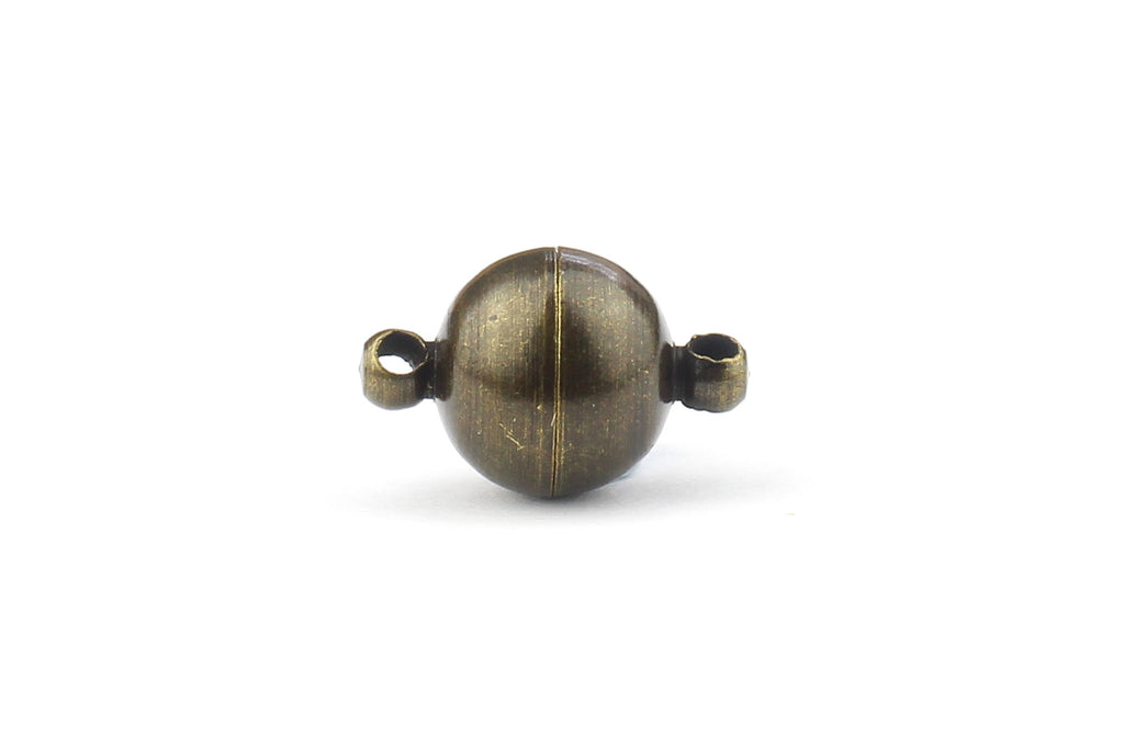 Antique Bronze Spherical Magnetic Clasps – 8mm x 14mm (5 sets)