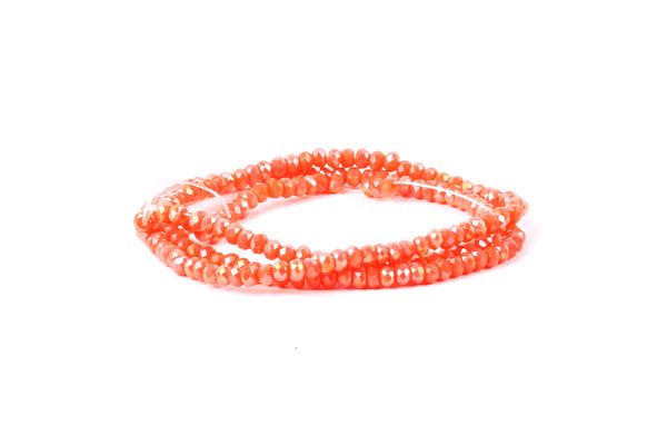 1.5mm x 2mm Coral (orange) Crystal Glass Faceted Bead Strand