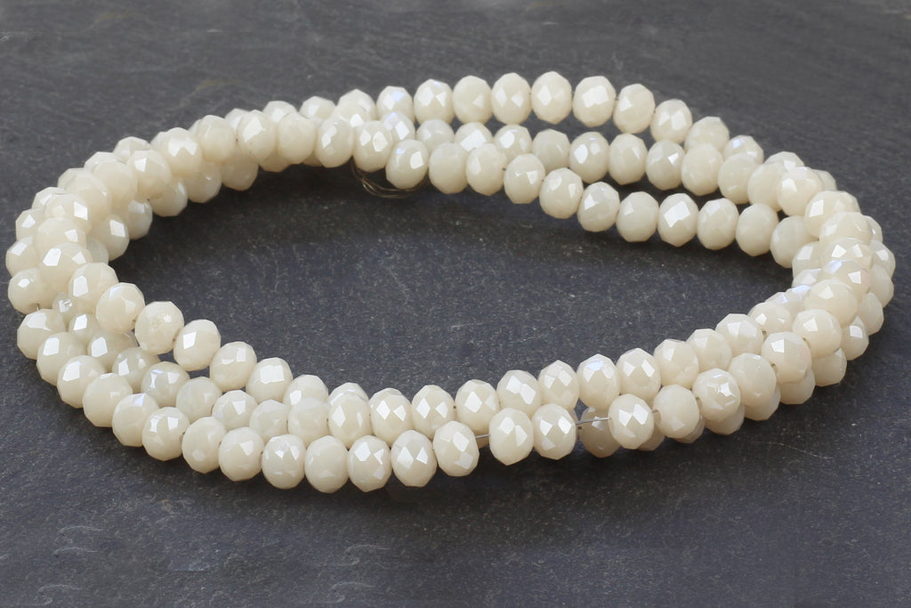 3x4mm Cream Crystal Rondelle Bead Strand