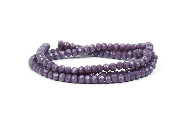 3x4mm Dark Purple Crystal Rondelle Beads for jewellery making