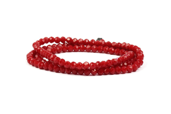 3x4mm Darker Red Crystal Rondelle Beads for jewellery making