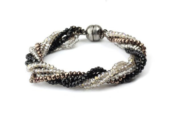 *50% OFF* Black & Silver Twisted Multi Strand Glass Bead Bracelet
