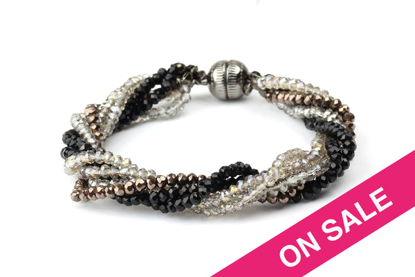 Black & Silver Twisted Multi Strand Glass Bead Bracelet