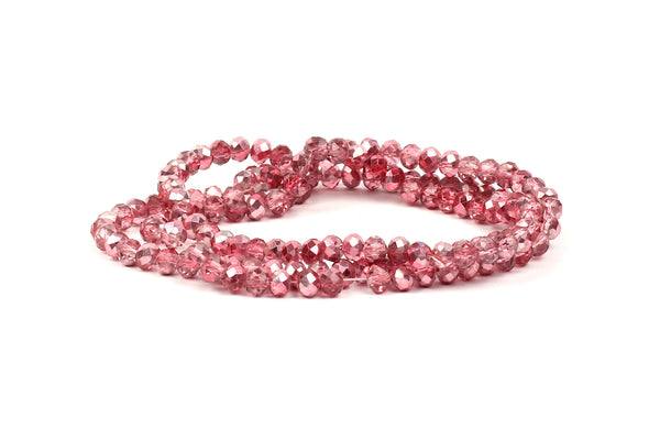 3x4mm Foiled Pink Crystal Rondelle Beads for jewellery making