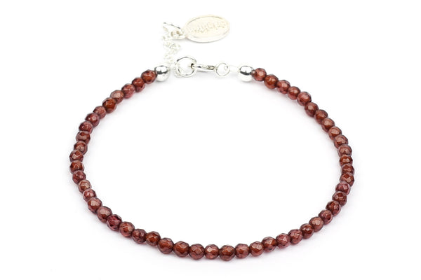 Kerrie Berrie Colourful Genuine Real Garnet and Sterling Silver Bracelet in Red