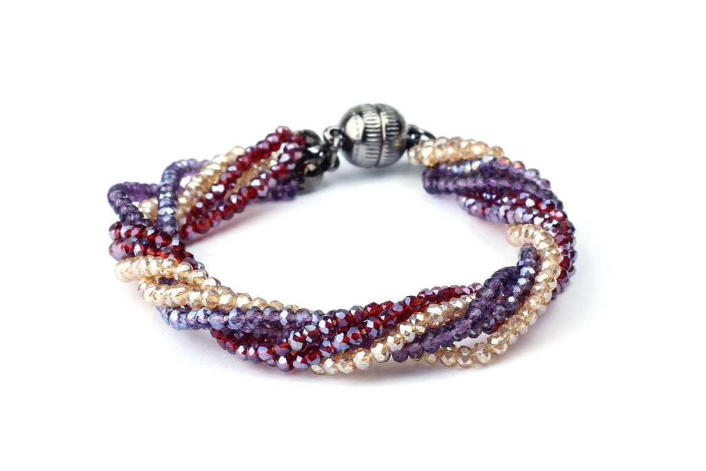 Twisted Multi Strand Glass Bead Bracelet - Choice of Three Colours