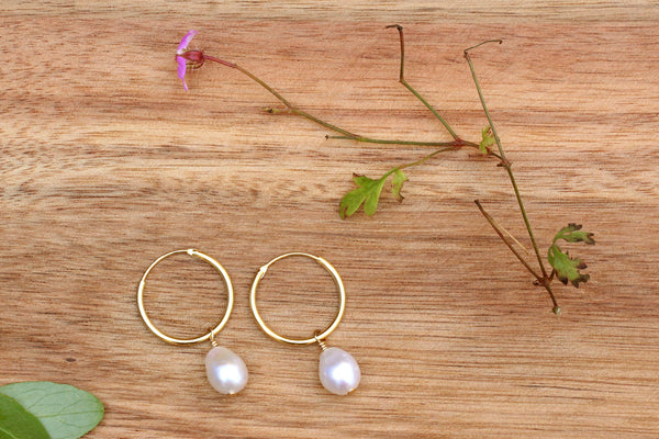 Kerrie Berrie Gold Freshwater Pearl Hoop Earrings
