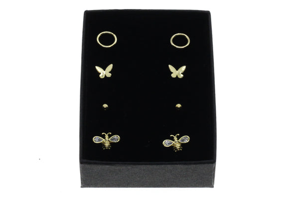 Gold stud earring gift set