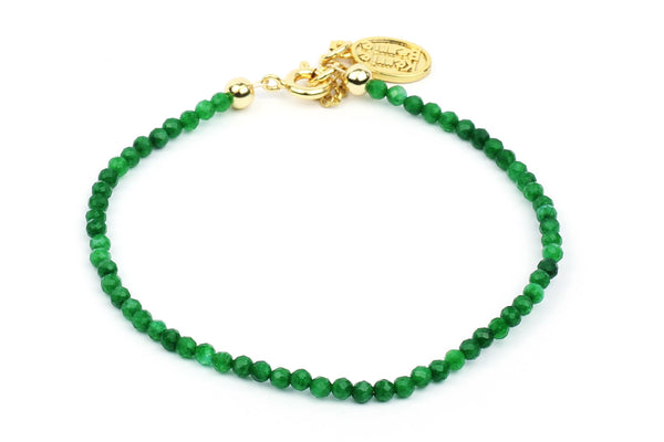 Kerrie Berrie Colourful Genuine Real Agate and Gold plated Bracelet in Green