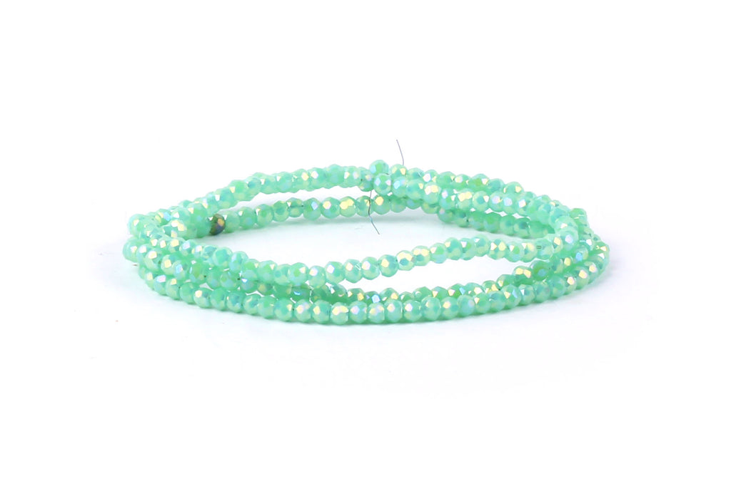 1.5mm x 2mm Green / Blue Crystal Glass Faceted Bead Strand