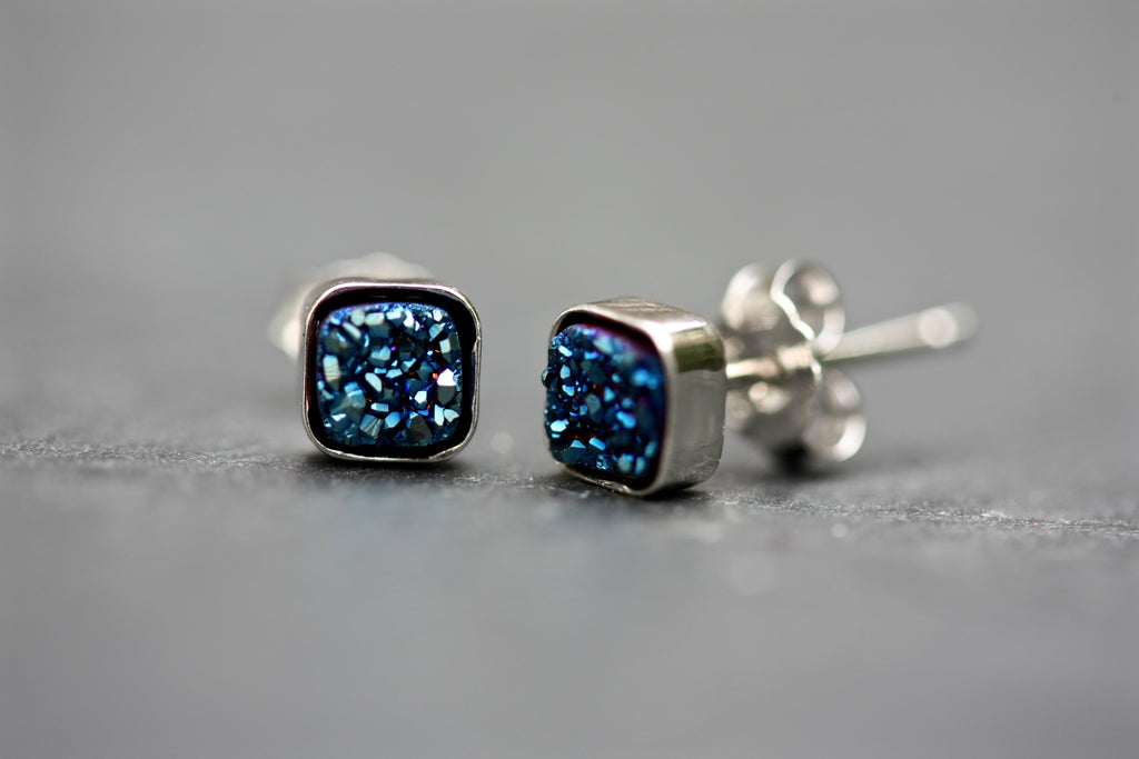 Blue drusy stud earrings