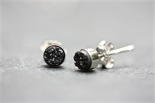 Tiny drusy stud earrings