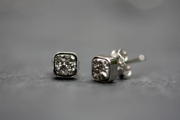 Silver drusy stone square stud earrings