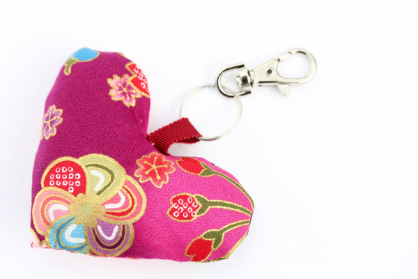 Pink Handmade Heart Bag Charms