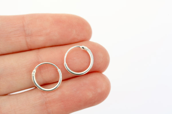 10mm Plain Sterling Silver Hoop Earrings