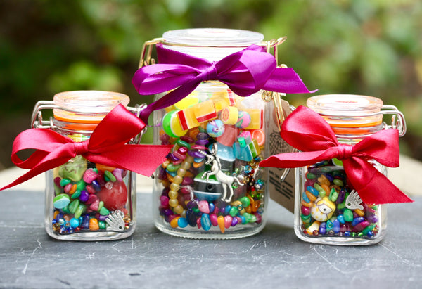 Bead Jars contains beads, charms and stringing material