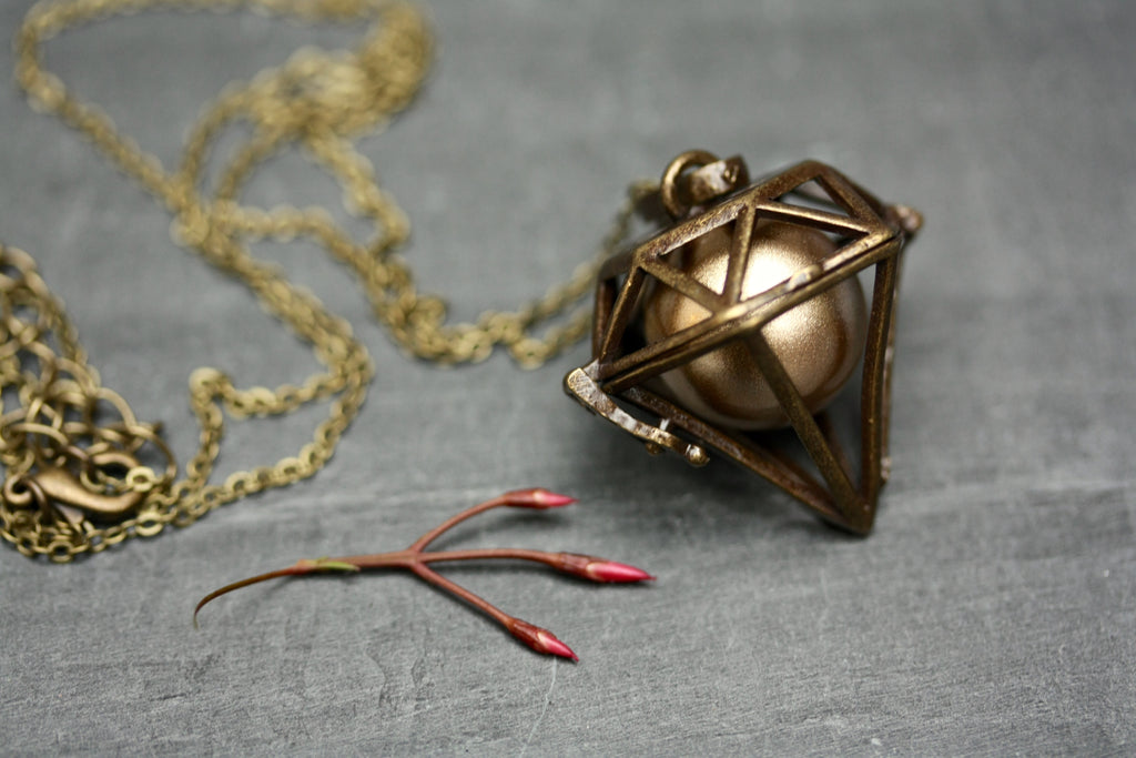 Brass Geometric Harmony Ball Aromatherapy Essential Oil Diffuser Necklace