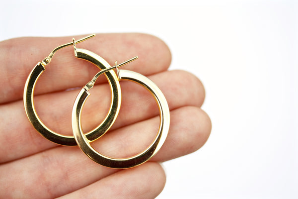 Chunky gold plated sterling silver hoop earrings