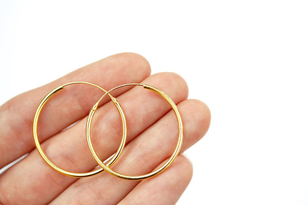 30mm real gold plated sterling silver hoop creole earrings