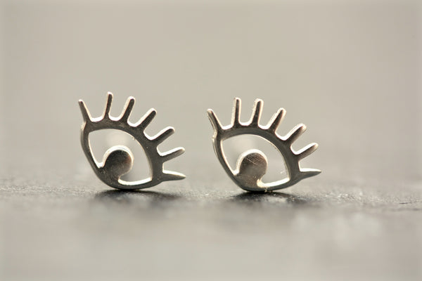 Sterling Silver Evil Eye Stud Earrings