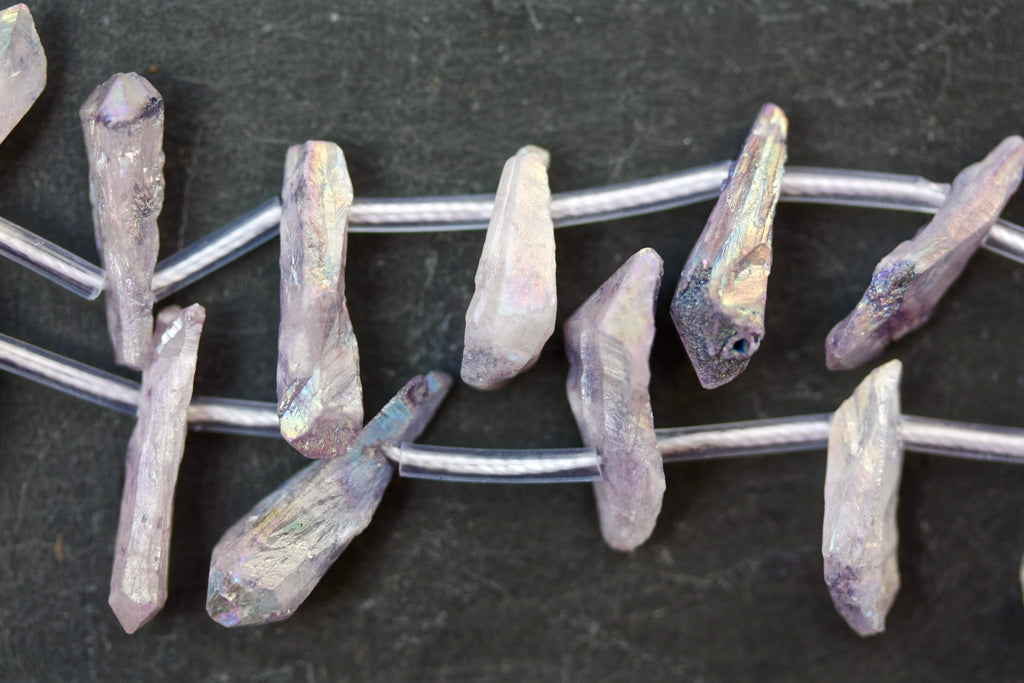 Lilac Natural Quartz Crystal Electroplated Beads