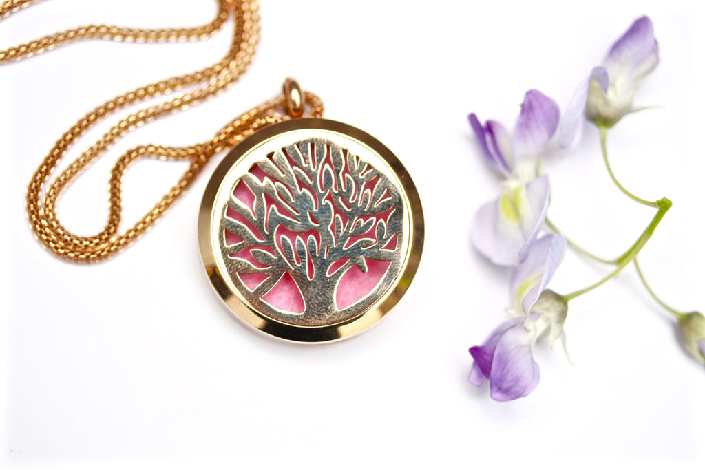 Rose Gold Tree of Life Essential Oil Diffuser Locket Necklace