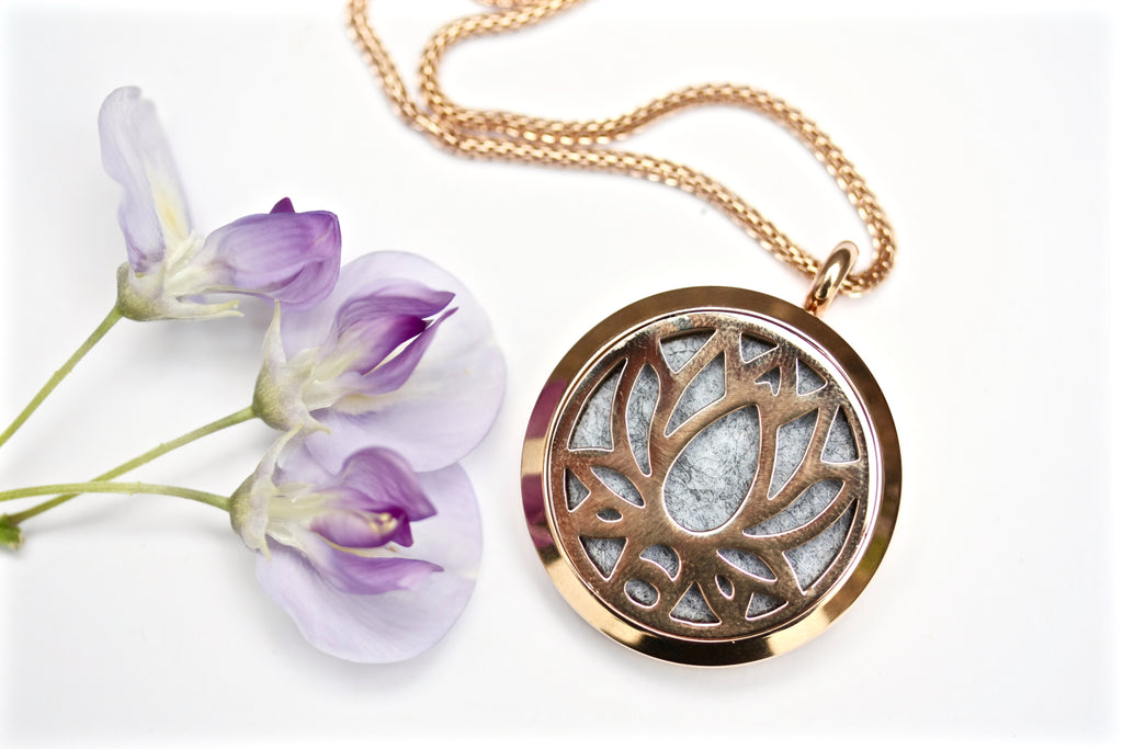 Rose Gold Lotus Flower Essential Oil Diffuser Locket Necklace