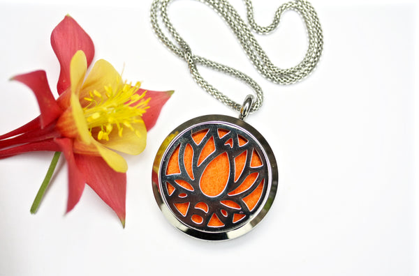 Silver Lotus Flower Essential Oil Diffuser Locket Necklace