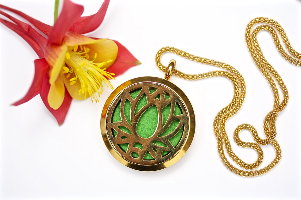 Gold Lotus Flower Essential Oil Diffuser Locket Necklace