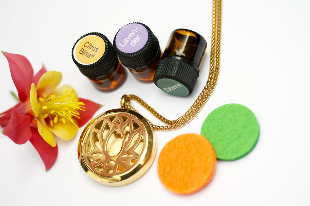 GIFT SET - Gold Lotus Flower Essential Oil Diffuser Locket Necklace