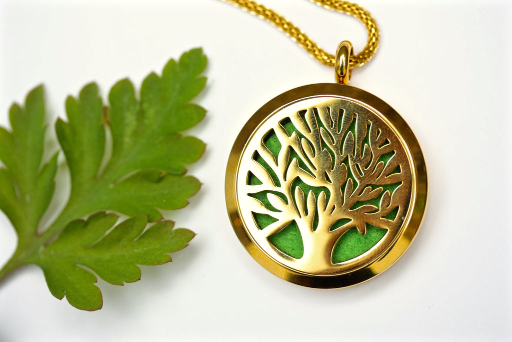 Gold Tree of Life Essential Oil Diffuser Locket Necklace