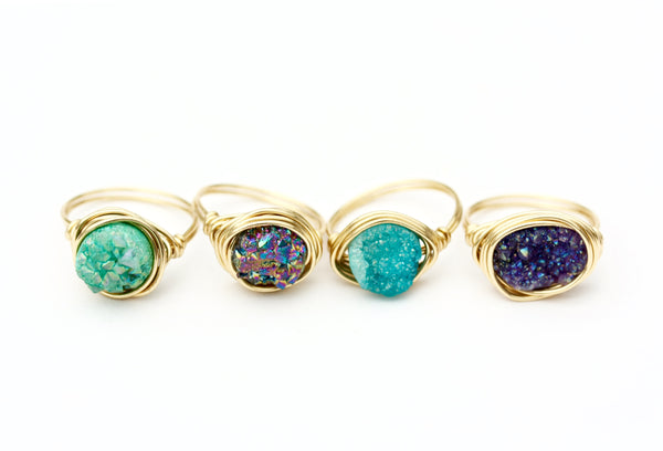 Gold Drusy Stone Wire Wrap Rings -  Made To Order