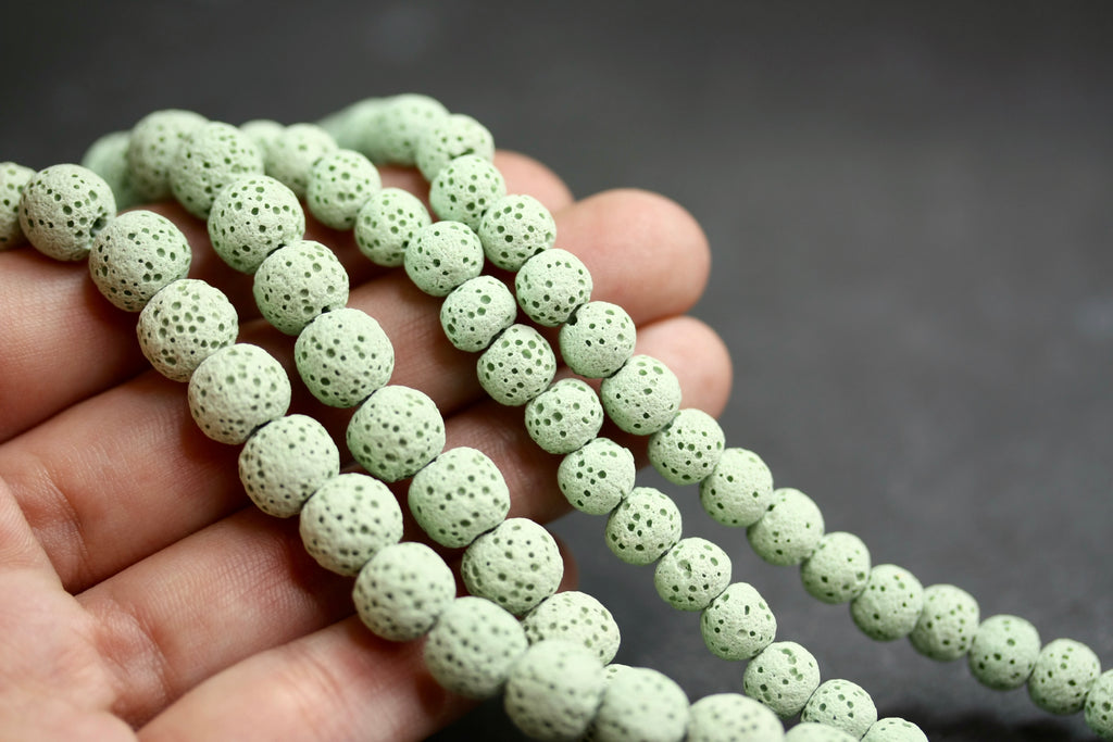 6mm and 8mm green round unwaxed natural lava stone beads, diffuser jewellery beads, mala beads.