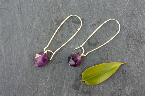Amethyst long sterling silver semi-precious earrings. (February birthstone)