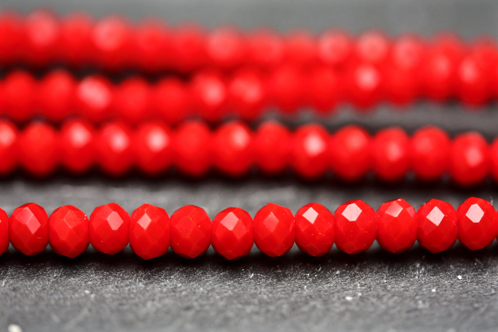 Opaque Red 3 x 4mm Faceted Glass Rondelle Beads
