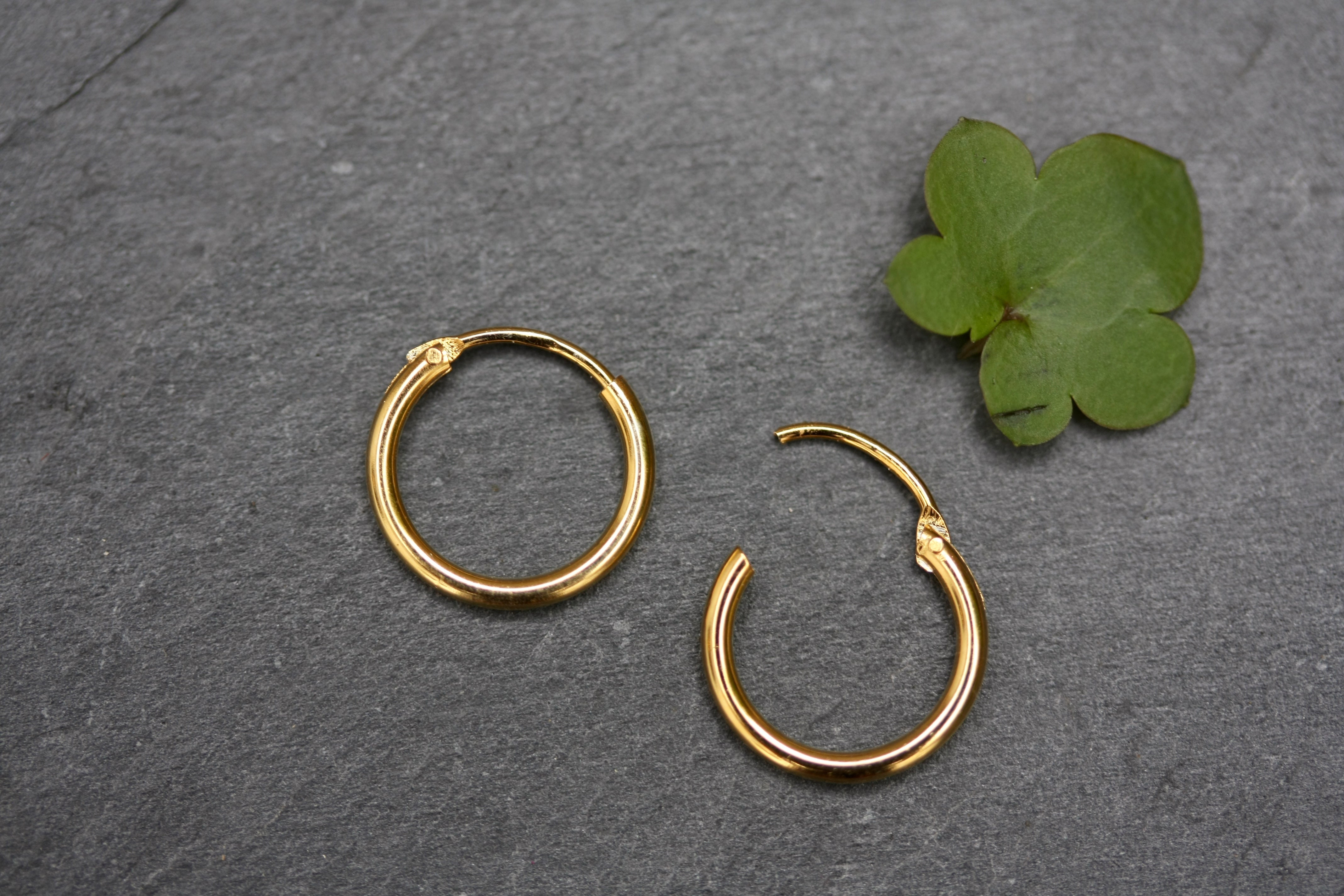 343ed3a3fb653 10mm Plain Sterling Silver Gold Plated Hoop Earrings