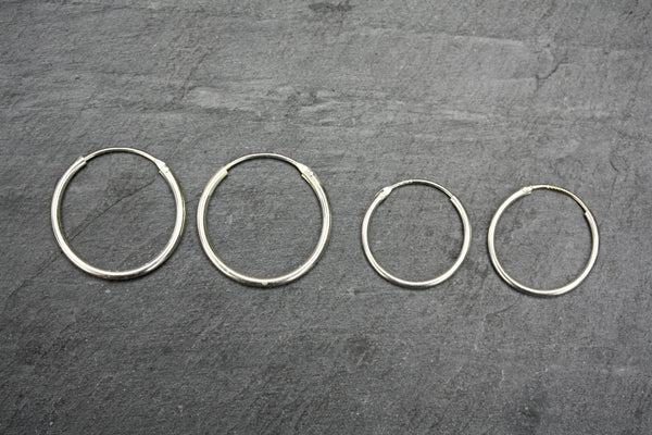20mm Plain Sterling Silver Hoop Earrings