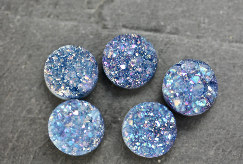10mm round AAA grade blue drusy beads