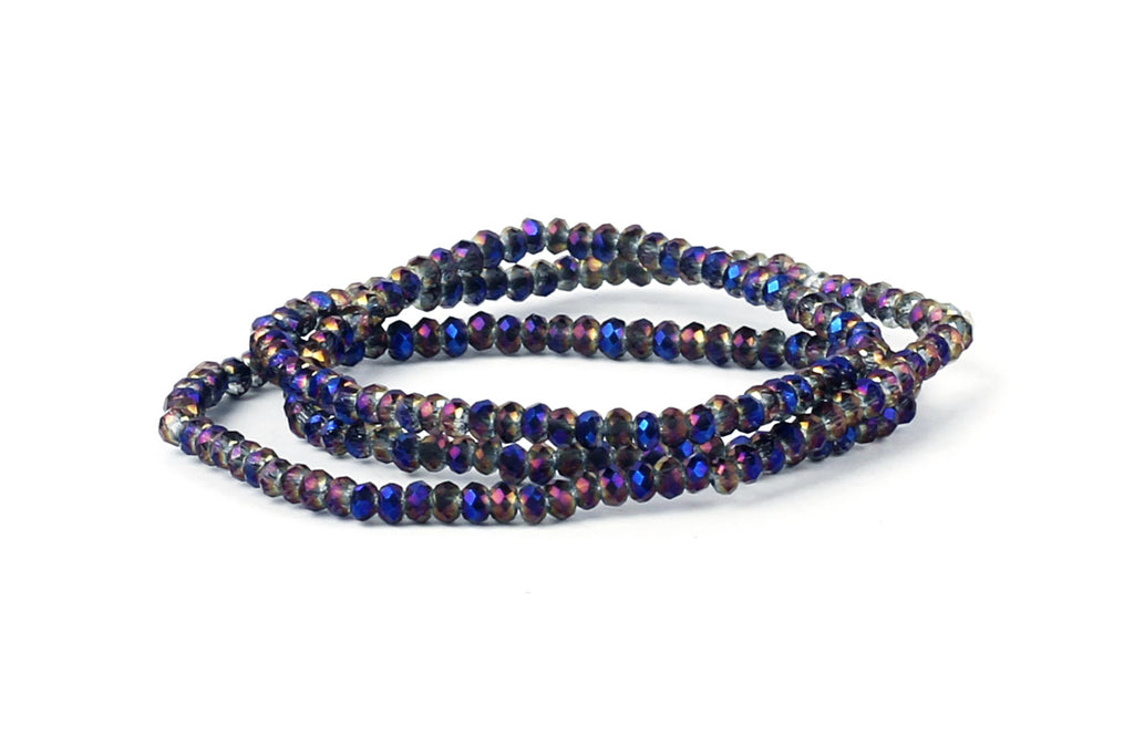 1.5mm x 2mm Iridescent Purple Transparent Crystal Glass Faceted Bead Strand