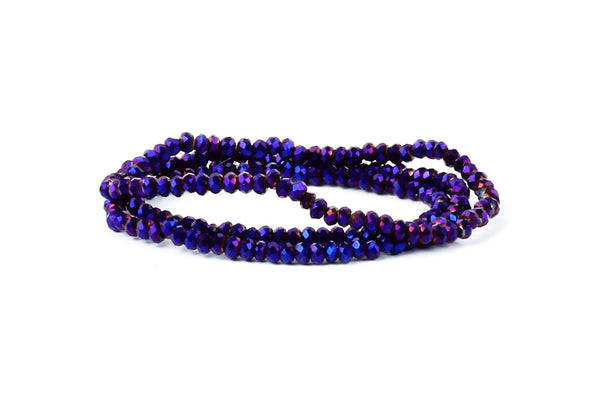 1.5mm x 2mm Iridescent Purple Crystal Glass Faceted Bead Strand