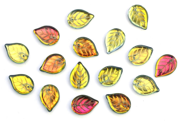 Iridescent Czech Glass Autumn Leaf Beads