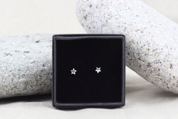 Sterling Silver Tiny Star Stud Earrings (3mm)