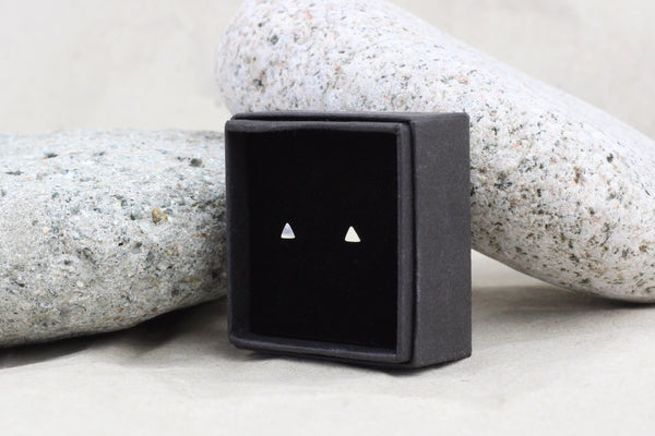 Sterling Silver Tiny Triangle Stud Earrings (3mm)
