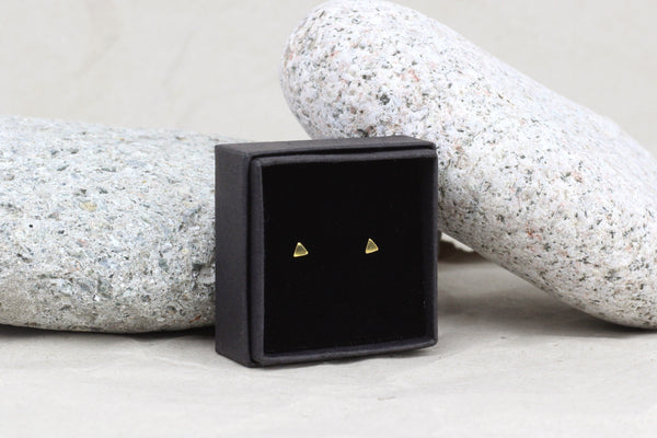Gold Filled Tiny Triangle Stud Earrings (3mm)