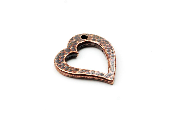 Antique Copper Tierracast Hammered Heart Charm