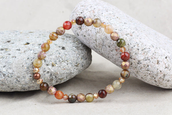 Natural Earth Tones Agate & Czech Glass Beaded Bracelet