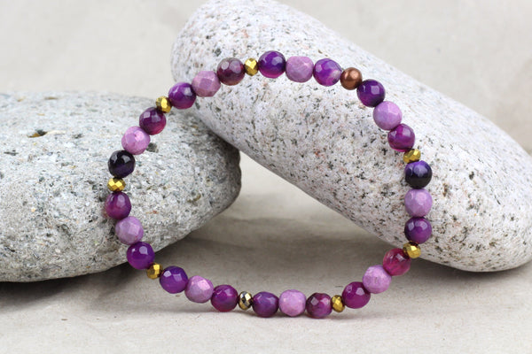 Purple Agate & Czech Glass Beaded Bracelet