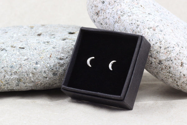 Sterling Silver Tiny Moon Stud Earrings