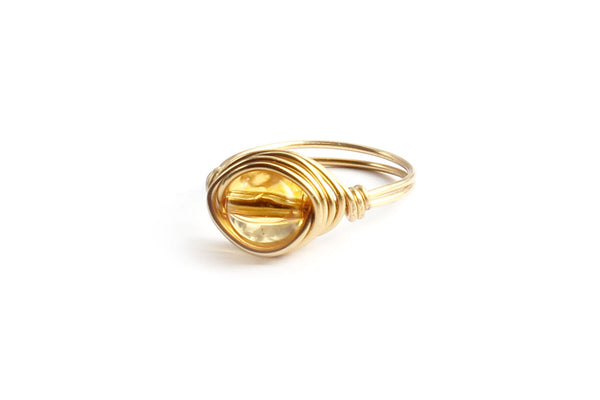 Citrine Stone and Gold Wire-wrapped Ring